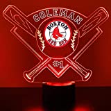 Mirror Magic Store Red Sox Boston LED Night Light Free Personalization - Night Lamp - Table Lamp - Featuring Licensed Decal