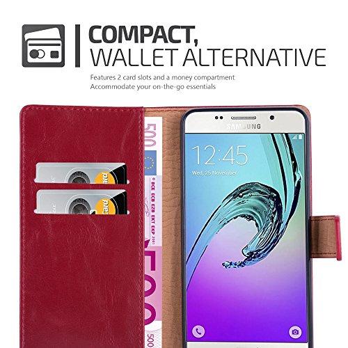 Cadorabo - Funda Estilo Book Lujo para Samsung Galaxy A5 (6) (Modelo 2016) con Tarjetero y Función de Suporte �?Etui Case Cover Carcasa Caja Protección en NEGRO-GRAFITO ROJO-BURDEOS