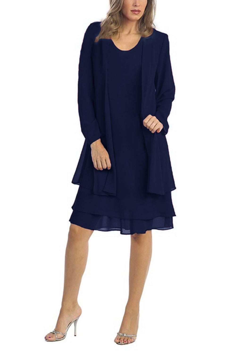 Chiffon Plus Size Mother of The Bride Dresses with Jacket Knee Length (4XL,  Navy)
