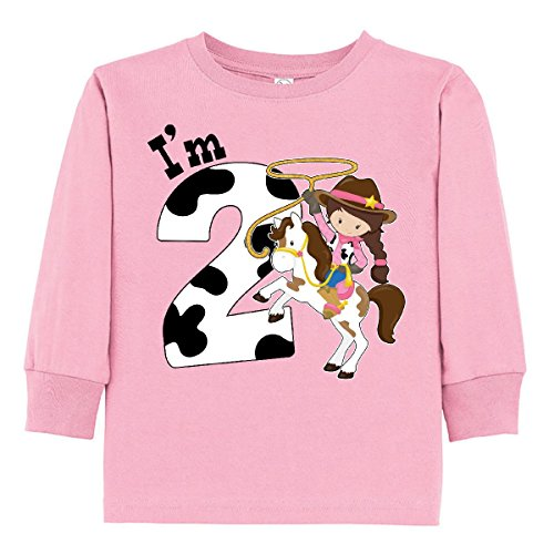 inktastic Im Two-Cowgirl Riding Horse Toddler Long Sleeve T-Shirt 2T Pink (Cowgirl Dark T-shirt)