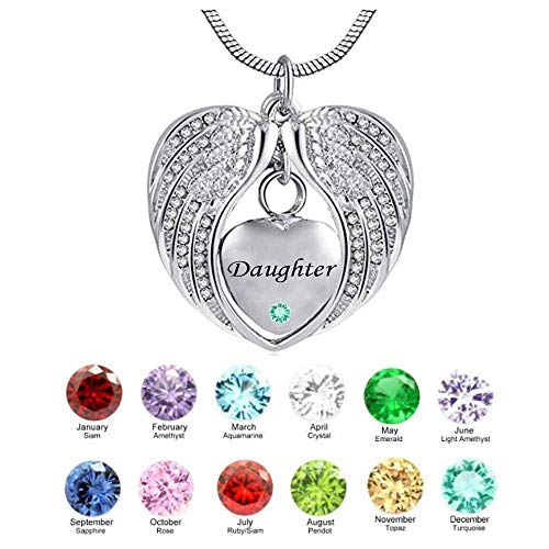 Naomi Daughter Angel Wing Birthstone Cremation Urn Crystal Necklace Heart Memorial Pendant Stainless Steel Jewelry (Silver,May) ()
