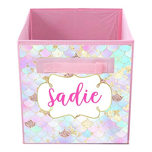 Toad and Lily Pink Mermaid Scale Bin Kid's Personalized Bedroom Baby Nursery Organizer for Toys or Clothing FB0377
