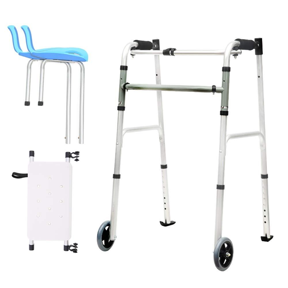 Foldable Portable Elderly Walker with Adjustable 8 Positions, armrest pad, Bath Board and 2 Wheels (Size : Ordinary Walker+Bath Board)