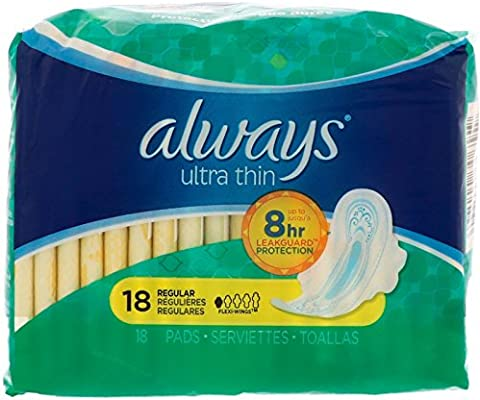 Amazon.com: Always Ultra Thin Regular With Wings Unscented Pads 18-Count: Health & Personal Care