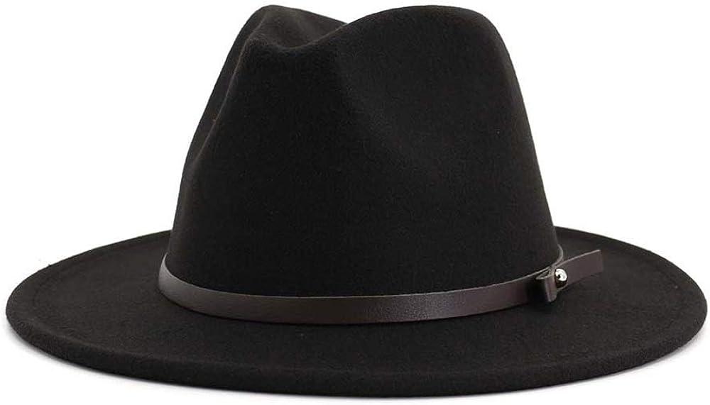 2020 Jane Store Fedora Hat avec Ceinture Automne Laine dhiver Chapeau Panama Large Chapeau /à Bord