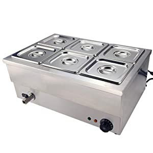 TAIMIKO Bain Marie Food Warmer Buffet Warmer Server Steam Table Stainless Steel Electric Countertop Container Temperature Control for Catering and Restaurants Commercial Grade 1500W 1/6 GN x 6 Pan