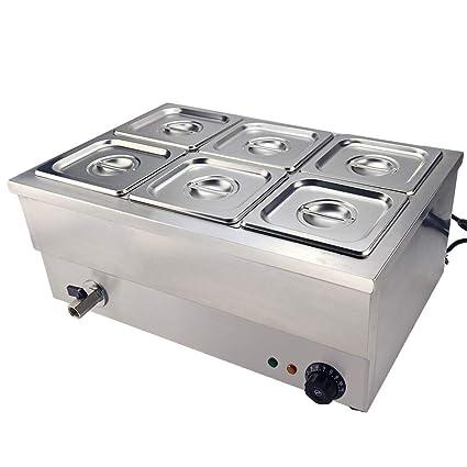 TAIMIKO Baño María eléctrico con 6 Compartimentos de Acero ...