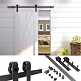 TMS 5 FT Country Antique Dark Coffee Steel Sliding Barn Wood Door Hardware Track Set