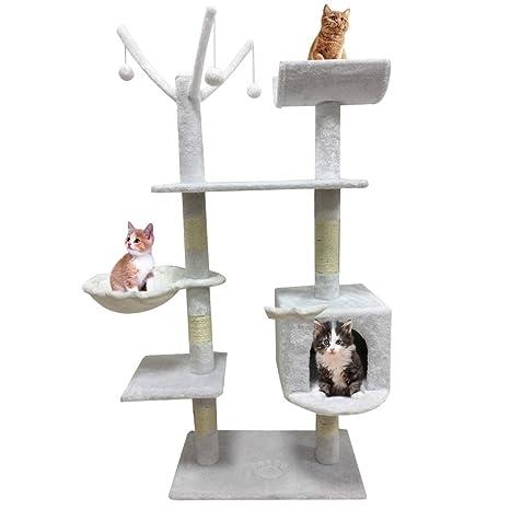 Bigbutterfly Árbol para Gato Rascador Poste para Gatos Juegos Escalada 153 cm Blanco lechoso