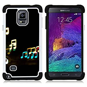 GIFT CHOICE / Defensor Cubierta de protección completa Flexible TPU Silicona + Duro PC Estuche protector Cáscara Funda Caso / Combo Case for Samsung Galaxy Note 4 SM-N910 // Music Neon Notes //