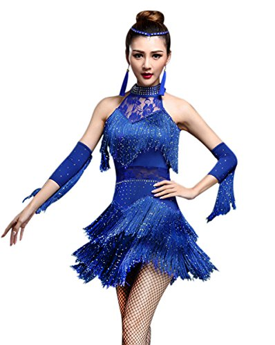 (Z&X Women's Rhinestone Tassel Flapper Latin Rumba Dance Dress 4 Pieces Outfits Medium Royal)