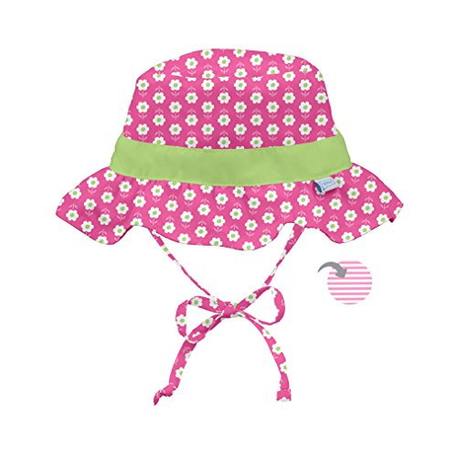 Reversible Sun Hat - i play. Toddler Girls' Reversible Ruffle Bucket Sun Protection Hat, Pink, 2T-4T