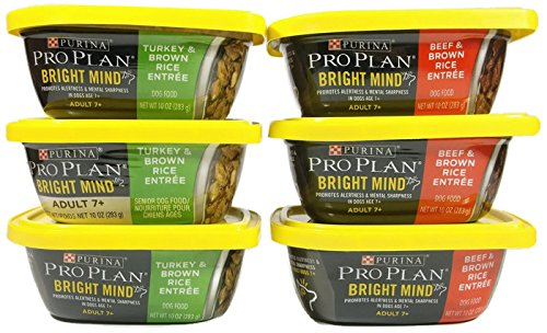 Purina Pro Plan Bright Mind Adult 7+ Wet Dog Food, 2 Flavor Bundle – Pack of 6-10 Ounces Each – Plus All Natural Dog Chew & Poop Bags (8 Total Items) For Sale