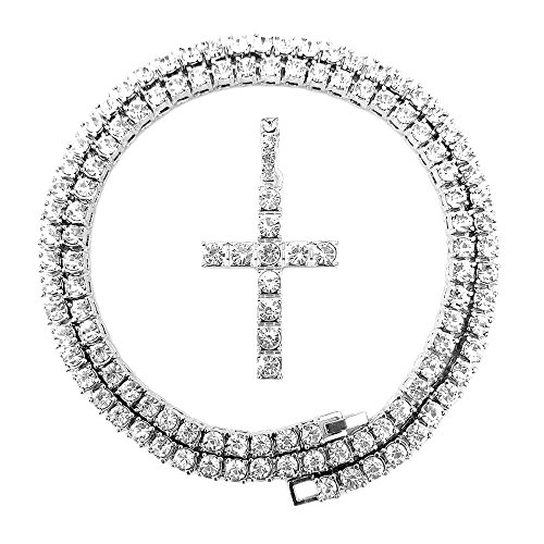 Silver Hop Cross Pendant Hip - HH Bling Empire Mens Iced Out Hip Hop Gold Artificial Diamond Ankh Cross cz Tennis Chain 22 Inch (Silver-Tennis-Cross A)