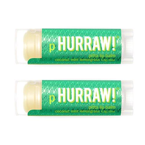 HURRAW! Pitta (Coconut, Mint, Lemongrass) Lip Balm (2 Pack): Organic, Certified Vegan, Cruelty Free, Non-GMO, Gluten Free, All Natural – Luxury Lip Balm Made in The USA – Pitta (2 Pack)