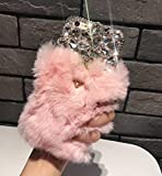 Losin Plush Case Compatible with Apple iPhone 7 Plus / iPhone 8 Plus 5.5 In Fashion Luxury Cute Fuzzy Furry Plush Fluffy Fur Bling Diamond Gemstone 3D Wings Metal Ring Stand Holder Soft TPU Back case
