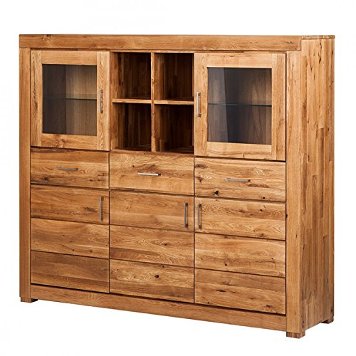 Schrank Buffet Highboard 'Verona' breit Wildeiche geölt massiv Holz