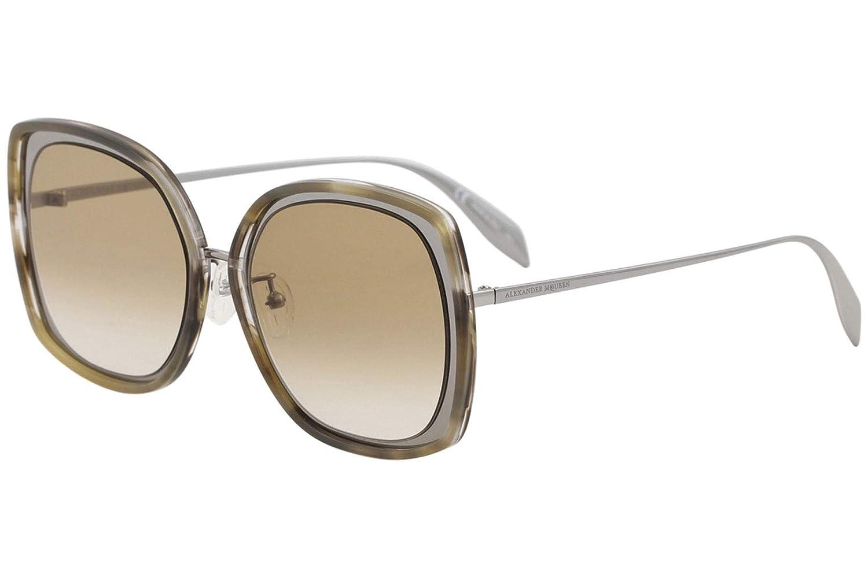 Alexander McQueen Edge AM0151S AM//0151//S 004 Ruthenium Square Sunglasses 57mm