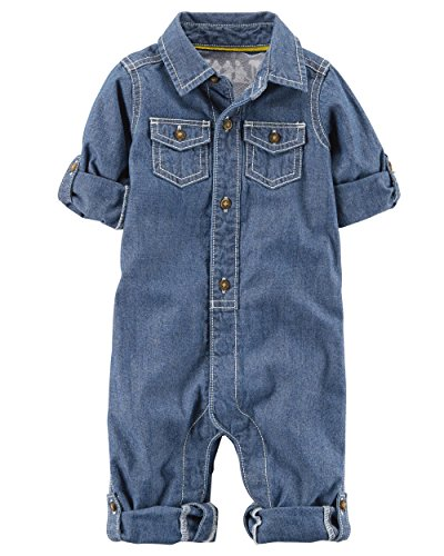 Carter's Baby Boys' Little Captain Chambray Jumpsuit 18 Months ()