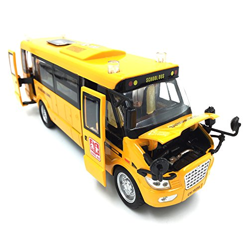 Large Bright Yellow Pull Back School Bus Die-cast Metal Toy Vehicles with Lights Sounds and Openable (Big Bus)