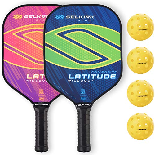 Selkirk Latitude Widebody Composite Pickleball Paddle - USAPA Approved - PowerCore Polymer Core - PolyFlex Composite Surface - EdgeSentry Protection - ThinGrip Handle (Lime/Orange Set)
