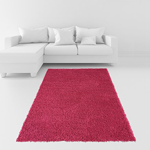 Hot Pink Contemporary Rug (Soft Shag Area Rug 5x7 Plain Solid Color PINK - Contemporary Area Rugs for Living Room Bedroom Kitchen Decorative Modern Shaggy)