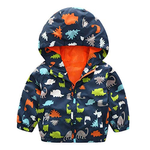 (EISHOW Kids Baby Boys Long Sleeve Dinosaur Fall Coat Outwear Infant Toddler Hoodie Hooded Zip-up Thin Jacket Clothes Sweatshirt (Navy, 12-18 Months))