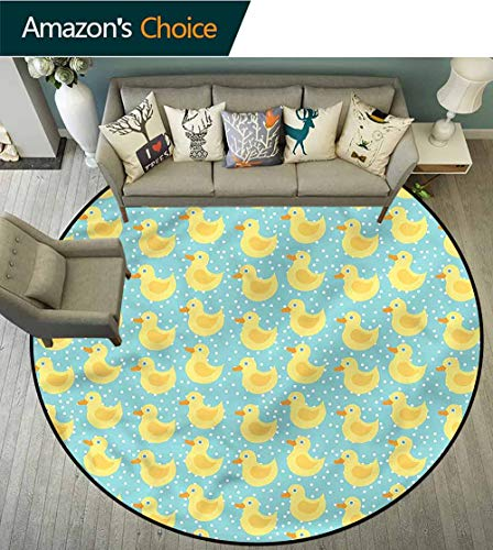 RUGSMAT Duckies Round Area Rug Carpet,Polka Dots Childish Cartoon Floor Mat Home Decor Round-59