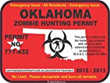 Oklahoma zombie hunting permit decal bumper sticker
