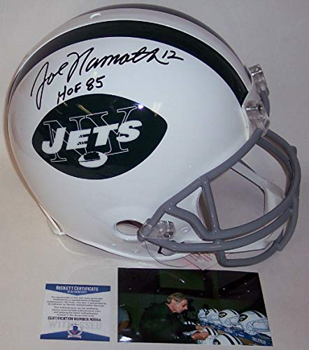 - Joe Namath - Autographed Official Full Size Riddell Authentic Proline Football Helmet - NY Jets Throwback - BAS Beckett Authentication
