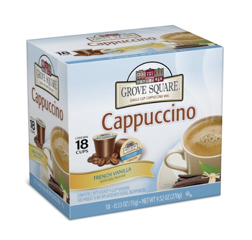 - Grove Square Cappuccino, French Vanilla, 18 Single Serve Cups (Pack of 3)