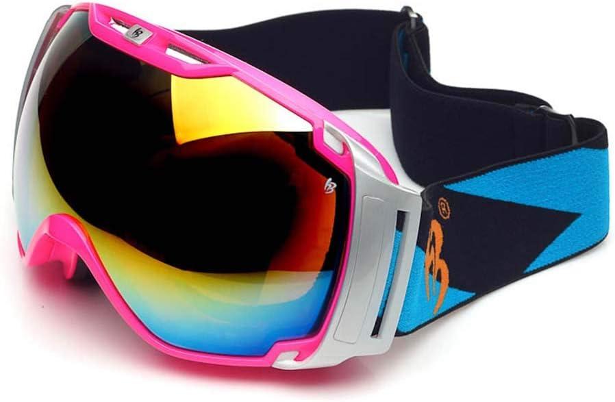 スキー用のゴーグル スキーゴーグル - PC、ダブルアンチフォグ、高精細視野、大口径レンズ、近視、ユニバーサルアウトドアスキー、登山用アンチショックゴーグル、男性用、女性用-6色 (色 : ローズレッド) ローズレッド