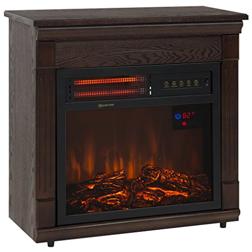 Fireplace Electric Heater 1500 Watt Free Standing With Remote In Modern Design - Drawer Half Log