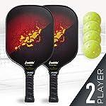 Franklin-Sports-Set-di-2-paddle-e-4-palline-da-marinaio-X-40-anima-in-polipropilene-superficie-in-fibra-di-vetro-rossogiallo