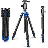 Neewer Carbon Fiber 65 inches/165 centimeters Tripod Monopod with 360 Degree Ball Head,1/4 inch Quick Shoe Plate and Bubble Level for DSLR Camera,Camcorder,Load up to 33 pounds/15 kilograms(Blue)