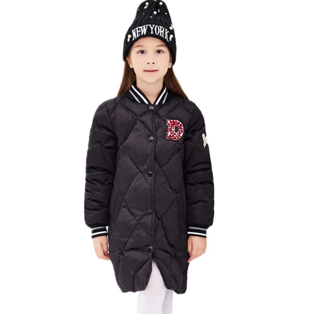 noir 140cm RSTJ-Sjc Enfants Filles Manteau Coupe-Vent épaisse Veste Canard en Bas De Style Sportif Outwear, Manteau d'hiver Idéal pour Enfants