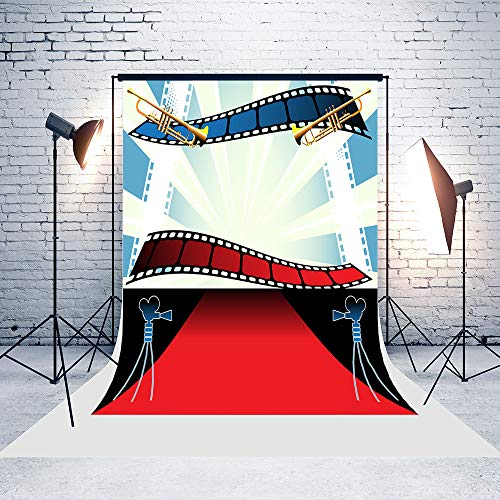 5ft(W) x7ft(H) Movie Backgrounds Colorful Filmstrips Red Carpet Baby Shower Wedding Birthday Party Decorations Microfiber Photo Backdrop Studio -