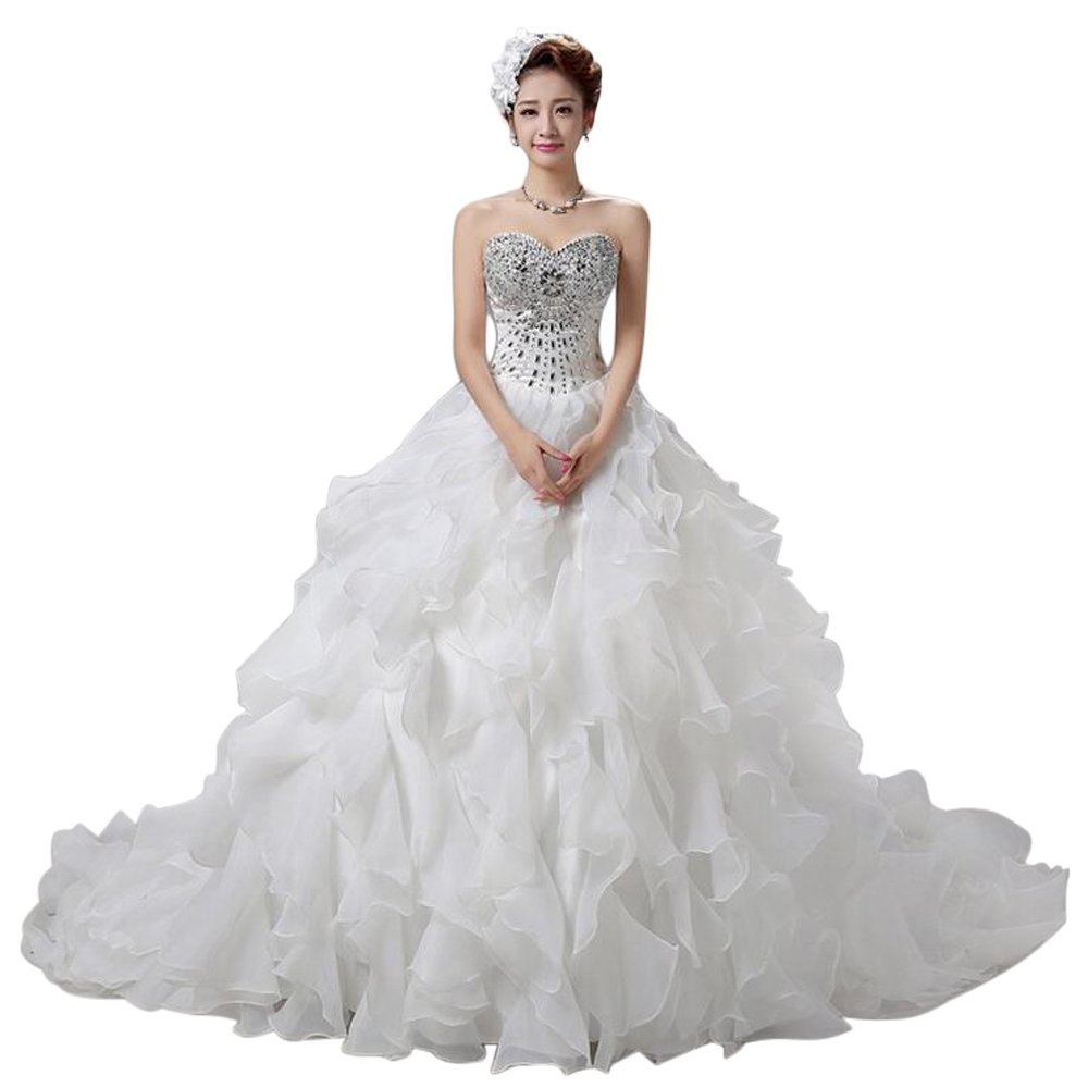 LIWA Beading Ruffles Long Wedding Dress Strapless Court Train Bandage Tutu Bridal Veil (small, white) by LIWA (Image #2)