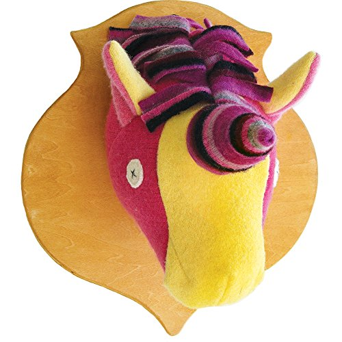 Cate and Levi 12 x 16 Handmade Unicorn Stuffed Animal Head Plaque (Premium Reclaimed Wool), Colors Will Vary