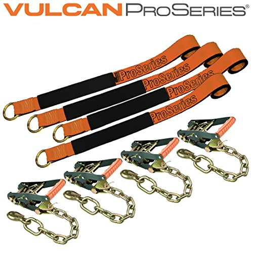 Vulcan ProSeries 96'' Lasso Auto Tie Down w/Chain Anchors, 3300 lbs. SWL, 4 Pack by VULCAN (Image #1)