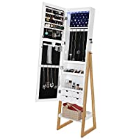 SONGMICS Spacious Jewelry Cabinet Armoire with 4 Drawers, Scandinavian Style Mirrored Jewery Organizer 6LEDs Lights UJBC72WN, 15.7''L x 14.2''W x 62.6''H, White