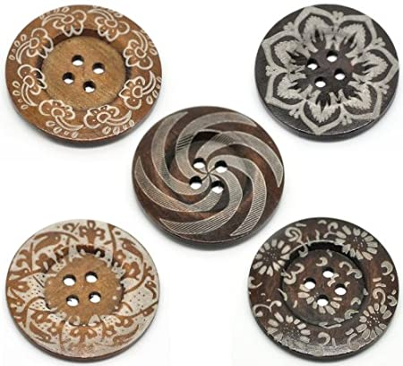 Very Large Boho Rich Brown Wooden Buttons 60mm 6cm The Bead and Button Box