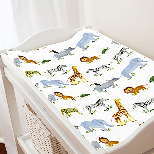 Carousel Designs Painted Zoo Changing Pad Cover - Organic 100% Cotton Change Pad Cover - Made in the USA