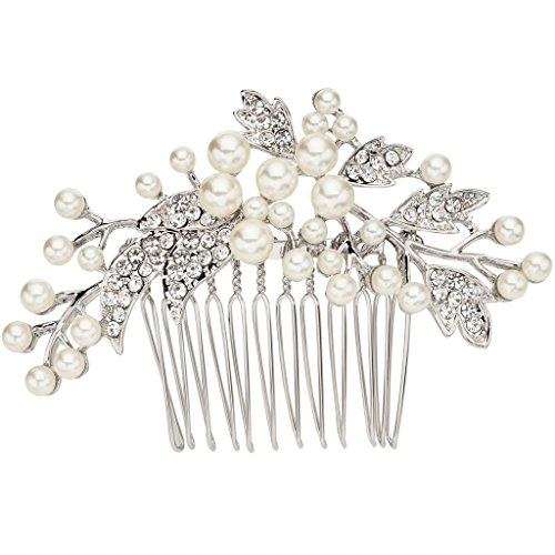 EVER FAITH Silver-Tone Austrian Crystal Cream Simulated Pearl Floral Leaf Branch Wedding Hair Comb Clear (Box Austrian Crystal)