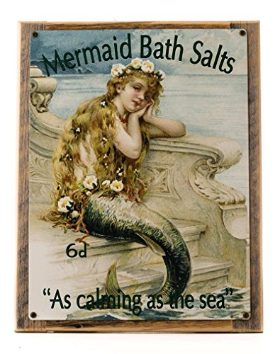 Cheap Mermaid Bath Salts Metal Sign Framed on Rustic Wood, bath decor, home decor