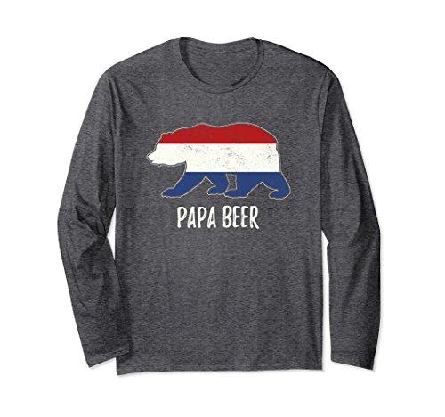 Unisex Netherlands Flag Bear Dutch Papa Long Sleeve Tshirt Large Dark (Dutch Bear)