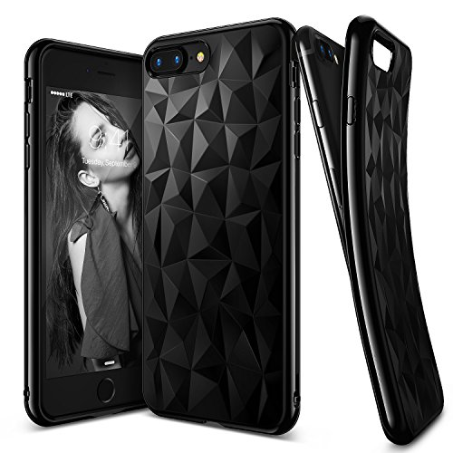 iPhone 7 Plus Case, Ringke [AIR PRISM] 3D Vogue Design Chic Ultra Rad Pyramid Stylish Diamond Pattern Jewel-Like Textured Protective TPU Drop Resistant Cover For Apple iPhone 7 Plus - Ink Black (E Ink Cell Phone)