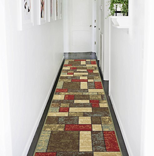 Ottomanson Ottohome Collection Multi Color Contemporary Boxes Design Runner Rug with Non-Skid Rubber Backing, 1'10