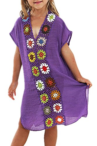 KIDVOVOU Kids Girls Swimsuit Beach Cover-up Crochet V-Neck Swim (Swim Cover Up For Kids)