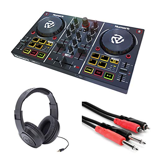 Numark Party Mix DJ Controller with Built-In Sound Card & Light Show, and DJ Software & Samson SR350 Headphones + Stereo Interconnect Cable (Best Beginner Dj Headphones)
